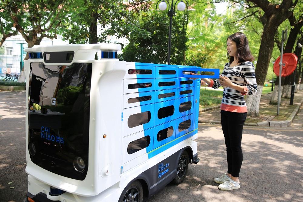 菜鳥「小G」物流機器人為物流行業解決「最後一公里」配送。