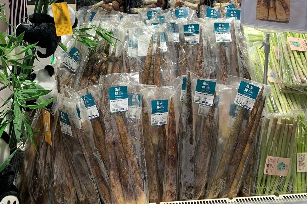 在盒馬門店售賣的「高山鮮」新鮮南川方竹筍。