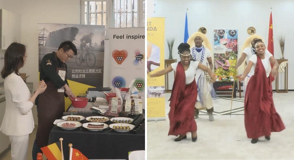 比利時的代表在直播間即席製作特色巧克力,盧旺達的代表也特別表演一段民族舞步。