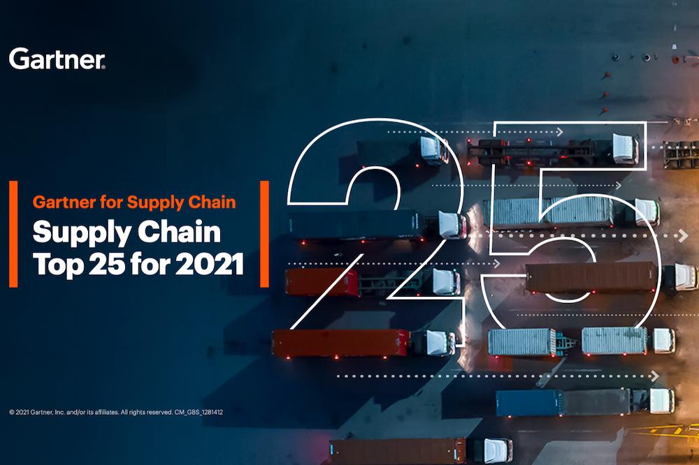 國際研究機構Gartner日前發佈2021年全球供應鏈25強排名,阿里巴巴集團數字供應鏈排名全球第10位。(Gartner報告截圖)