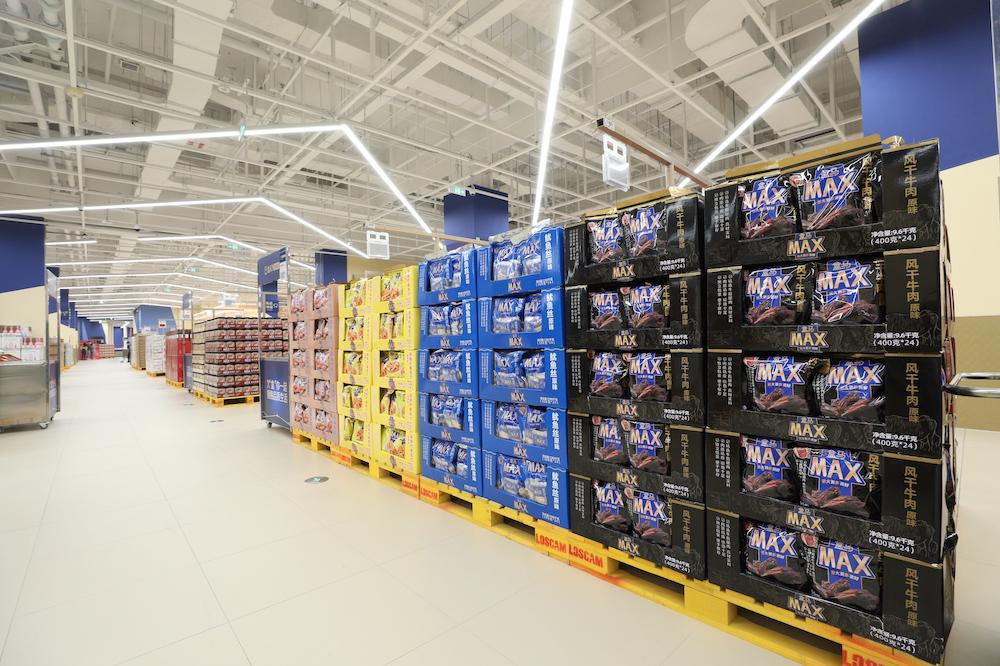 北京盒馬X會員店,全部採用倉儲式貨架