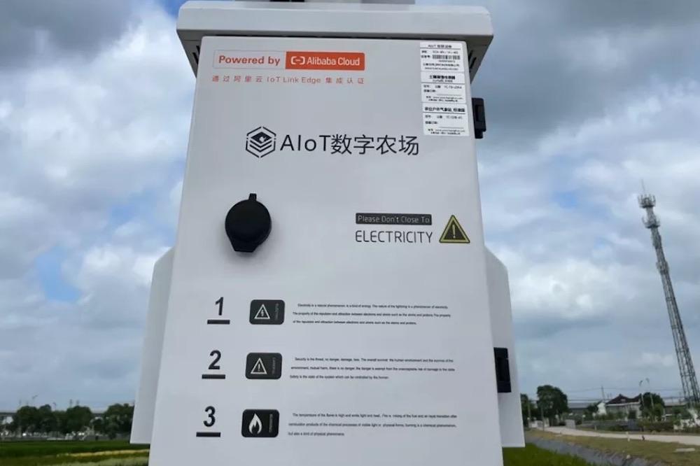 田間地頭立起阿里雲智能AIoT一體桿,可監測溫度、風向、土壤濕度、稻田長勢、病蟲害等各類指標,並實時反饋到智能平台上。